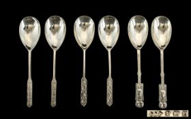 Liberty & Co 1930's Archival Patterns Sterling Silver Tea Spoon Set Six teaspoons, each fully
