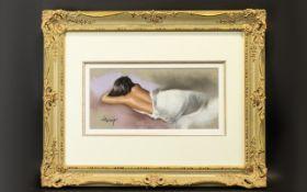 Domingo Alvarez Gomez (Spanish b 1942) - Chalk pastel on Bristol paper depicting a recumbent female