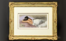 Laurence Rushton (British 1919 - 1994) Untitled Original Chalk Pastel On Bristol Paper Framed,