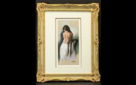Domingo Alvarez Gomez (Spanish b 1942) - Chalk pastel on Bristol paper depicting a standing female