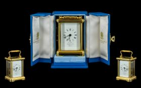 Garrard & Co London Top Quality Brass Miniature Carriage Clock with Visible Open Platform,