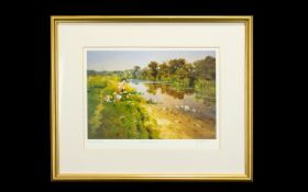 Limited Edition Framed Artist Proof John Haskins 'Riverside Fishing' Framed, glazed and mounted,