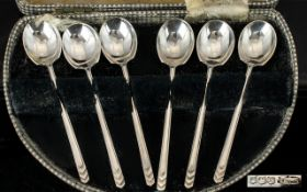 Art Deco Period 1930's Very Pleasing Set of Size Silver Coffee Spoons, Wonderful Proportions,