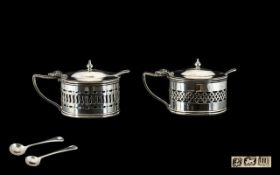 Edwardian Period Good Quality - Matched Pair of Solid Silver Mustard Pots,