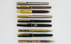 Fountain Pens Fountain pens plus others, to include Parkers and other makers, 9 in total,