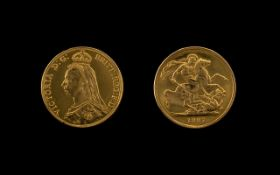 Queen Victoria 22ct Gold - Jubilee Head Two Pound Coin. Date 1887 - London Mint.