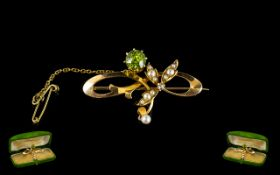 Antique Period - Attractive 15ct Gold Peridot / Diamond and Seed Pearl Set Brooch with Safety Chain.