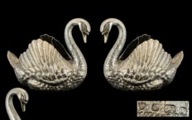 A Majestic and Very Large Pair of Sterling Silver Figural Swan Centrepiece by V.J.