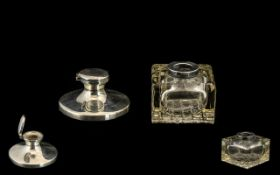Small Silver Capstan Ink Well with glass well. Hallmarked for Birmingham Z 1949.