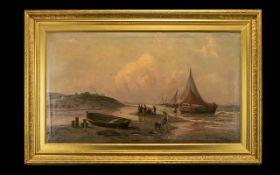 After H Eschke Framed Oilograph Antique untitled oil over print base,