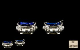Edwardian Period Fine Quality Pair of Silver Salts with Matching Silver Salt Spoons Complete with