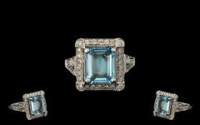 18ct White Gold Superb Quality Aquamarine and Diamond Set Dress Ring. Marked 18ct - 750.