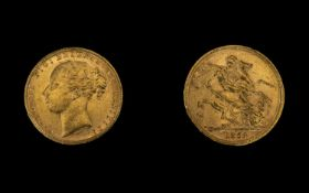 Queen Victoria 22ct Gold - Young Head Full Sovereign - Date 1878.