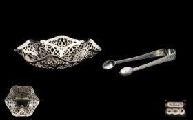 A Fine Silver - Reticulated Fancy Shaped Bon - Bon Dish From 1920. Signed to Base by the Maker.