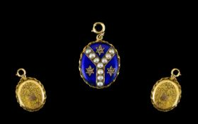 Victorian Period - Attractive Oval Shaped 9ct Gold Blue Enamel Double Hinged Locket,