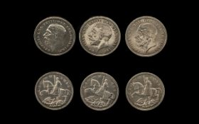 A Small Collection of United Kingdom George V - Rocking Horse Silver Crowns ( 3 ) Dates 1935.