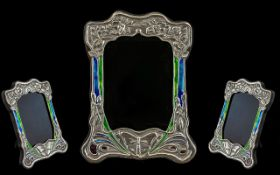 Art Nouveau Design Sterling Silver and Enamel Photo Frame with Butterfly and Stylised Floral Images,