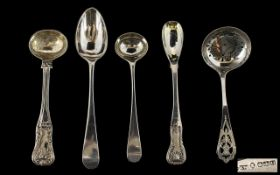 Excellent Collection of Antique British Silver Spoons ( 5 ) In Total. Various Hallmarks.