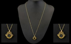 9ct Gold Compass / Pendant with Attached 9ct Gold Long Chain. c.1920's.