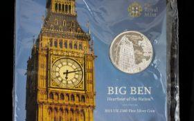 United Kingdom Fine Silver Big Ben £100.00 Coin, Struck to Mint / Uncirculated Standard.