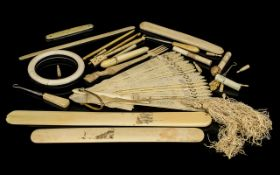A Quantity Of Ivory And Bone Oddments And Collectibles To include a carved Napoleonic prisoner of