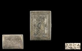 Victorian Period - Superb Quality Silver Card Case of Rectangular Shape Decorated Profusely with