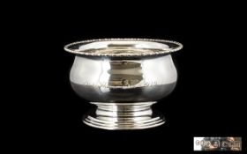 1930's Period - Sterling Silver Circular Footed Bowl with Reeded Border and Stepped Base of