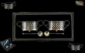 Antique Boxed Set Of Silver Salts Housed