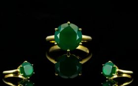 Green Onyx Solitaire Ring, a round cut g