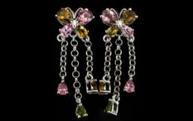 Multi Tourmaline 'Butterfly' Drop Earrin