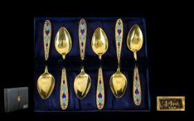 Six Gilded Russian Cloisonne Teaspoons I