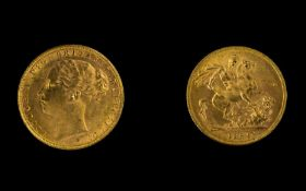 Queen Victoria Superb - 22ct Gold Young Head Full Sovereign - Date 1884. London Mint & High Grade E.