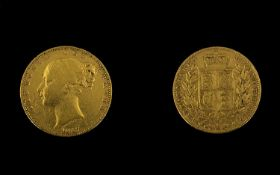 Victorian 1847 Shield Back Gold Sovereig