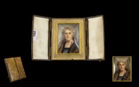 Early 20th Century Portrait Miniature On Vellum Signed B Shear Depicting a distinguished lady in