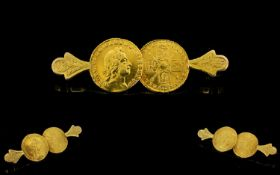 George I 22ct Gold Quarter Guinea Brooch