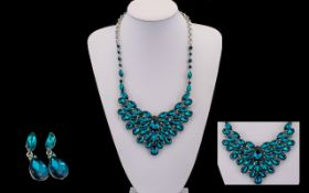 Dark Teal Crystal Statement Necklace and