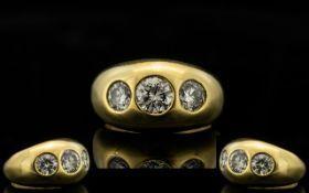 18ct Yellow Gold Gentleman's 3 Stone Dia