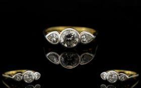 18ct Gold - Nice Quality 3 Stone Diamond