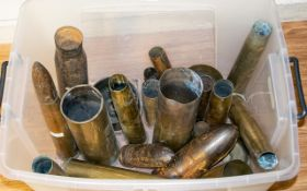 GUN SHELLS. 25 in total, Tallest 16 inch