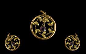 Antique 9ct Gold And Amethyst Set Pendan