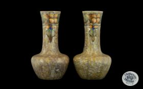 Cranston Pottery Tubelined Pair of Vases
