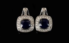 Sapphire and Natural White Zircon Drop E