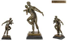 A Cast Bronze Figure Group After Chiparu
