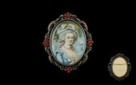 Antique Portrait Miniature Mounted in wh