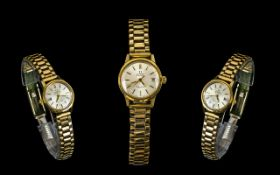 Ladies Omega Automatic Gold Plated Wrist Watch From The 1980's, Mother of Pearl Dial, Date-Display,