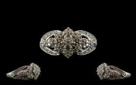 Ladies 9ct White Gold Diamond Set Cluste