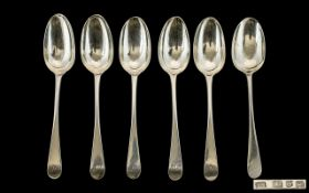 George III - Rare Scottish Sterling Silver Matched Set of Six Large Table Spoons.