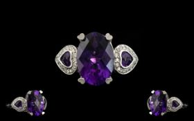 A 14ct White Gold Amethyst And Diamond C