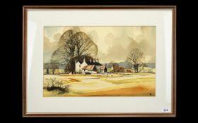 J.R.Hurley ( 20th Century ) Farm Cottage