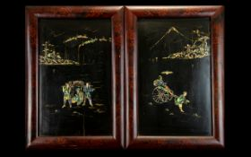 Two Oriental Framed Wall Panels inlaid with Abalone shell depicting a rickshaw and figures.
